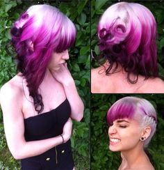Fushia ombré and updo with curls and braids