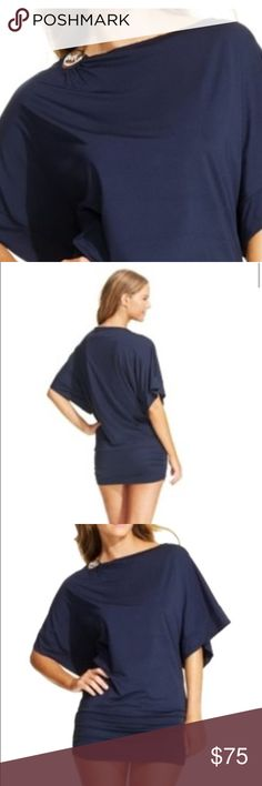 Michael Kors beach cover up Sz M/L navy blue beach cover up with MK logo at the shoulder, gathers at upper thigh. Michael Kors Swim Coverups