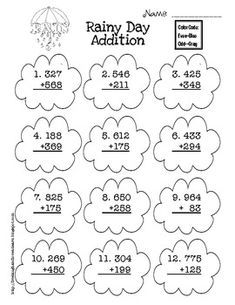 Weather themed three digit addition with and without regrouping.Students color the clouds using even/odd color code.
