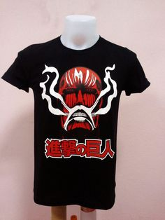 Cartoon T-shirt Attack on Titan in Big Titan face Design  - Unisex Adult T-Shirt  Black Tshirt on Etsy, $12.87