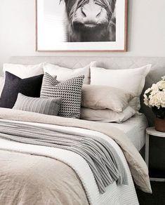 I love this look for Bedroom Interior Design and Decor Inspo. - I love this look for Bedroom Interior Design and Decor Inspo. Great color palette of whites, grays, - White Bedroom Set, White Room Decor, Cozy Bedroom, Dream Bedroom, Home Decor Bedroom, Bedroom Black, Taupe Bedroom, Bedroom Cushions, Bedding Master Bedroom