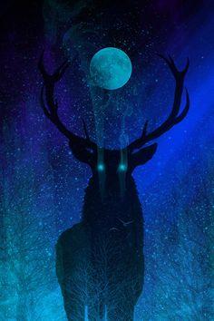 New art on my Etsy!   deer, stag, moon, bords, forest, adventure, explore, lunar, hippie art, boho, bohemian, space art, abstract art, stars, night sky, animal art, deer art, bird art