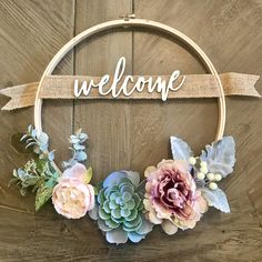 Welcome Wreath Custom Succulent Wreath with Family Name Personalized Gift Embroidery Hoop Wreath Farmhouse Decor Rustic Decor This custom 12 inch, wreath features a pretty combination of faux succulents and flowers and it is personalized wi Rustic Farmhouse Decor, Rustic Decor, Rustic Wood, Rustic Backdrop, Rustic Chair, Rustic Gifts, Bedroom Rustic, Rustic Cottage, Rustic Baby