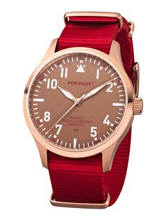 POP-PILOT® watches  VCE with a dark red nato strap and a fashionate rosé-gold casing