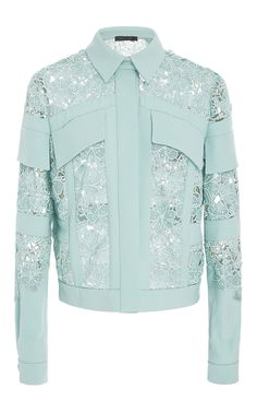 Macramé Denim Jacket by ELIE SAAB for Preorder on Moda Operandi