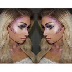 Glittery Turquoise Mermaid Makeup With Gills Halloween