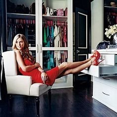 We'd do terrible things to have access to these celebs' closets. Nicky Hilton, Dark Wood Floors, Dark Hardwood, Armoire, Dressing Rooms, Glass Wardrobe, Walk In Wardrobe, Wardrobe Doors, Walk In Closet