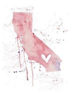 California Love, print of an original watercolor painting. Comes in various colors, $20.