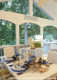 Between Naps on the Porch | Nautical Table Setting Tablescape