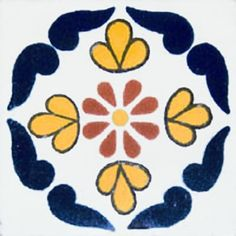 """Mexican tiles in """"Colima"""" style. Old Europe with cobalt, yellow and terra cotta ceramic tile design over white background. Shipping from Mexico to the US and Canada is estimated for four weeks. Patio Tiles, Patio Wall, Ceramic Design, Tile Design, Mexican Folk Art, Mexican Tiles, Painting Tile Floors, Rock Painting, Tile Crafts"""