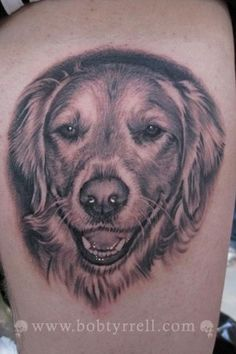 dog tattoos | Bob Tyrrells Night Gallery : Tattoos : Animal : Dog Portrait Tattoo