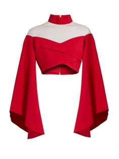 Runway Balmain High-Neck Off-The-Shoulder Crop Top Stage Outfits, Kpop Outfits, Mode Outfits, Red Off Shoulder Top, Off Shoulder Shirt, Bell Sleeve Crop Top, Bell Sleeves, Crop Top With Sleeves, Red Shirt Outfits