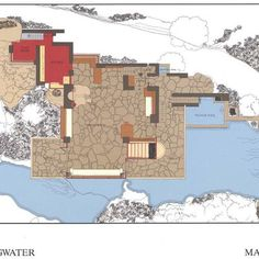Fallingwater House plan de l'étage principal.
