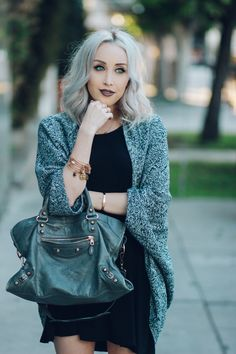 Heathered Cardigan - Grey Balenciaga Bag - Anastasia Beverly Hills Liquid Lipstick | BlondieintheCity.com