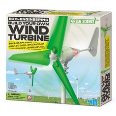 The Build Your Own Wind Turbine kit by you can harness the power of wind and convert it into electricity. Once complete, you can watch the Wind Turbine capture the wind's energy and turn it into light. The kit requires an empty two-liter soda bottle a Renewable Energy, Solar Energy, Wind Turbine Kit, Solar Power Facts, Science Kits, Led Licht, Construction, Le Web, Diy Solar