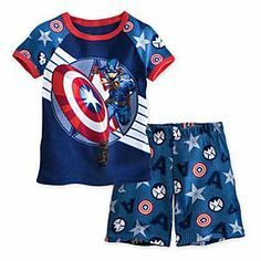 Captain America PJ Pal Shorts Set for Boys | Marvel |Captain America PJ Pal Shorts Set for Boys - Your little Super Hero will enjoy a star-studded night in this Captain America PJ Pal for Boys. The patriotic Avenger is all action on this coordinating sleepwear set that features a cool print of the Super Soldier's symbols.