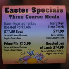 Getting ready for Easter with some specials! #easter #melsdiners #bonitaspringsfl #ham #turkey #lamb #primerib