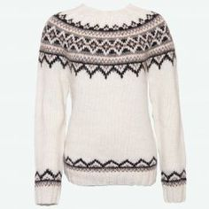 Purchase this authentic woman's hand-knit Icelandic round yoke lopapeysa wool pullover, available in nine color combinations. Hand Knitted Sweaters, Sweater Knitting Patterns, Wool Sweaters, Knitting Ideas, Fair Isle Pullover, Handgestrickte Pullover, Icelandic Sweaters, Outdoor Apparel, Knitted Tank Top