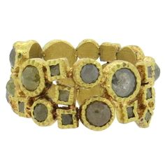 Todd Reed Rough Diamond Gold Band Ring  | From a unique collection of vintage more rings at https://www.1stdibs.com/jewelry/rings/more-rings/