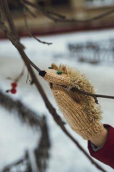 Nice Knited Beige Hedgehog Fluffy Mittens. Handmade by NatalieKnit