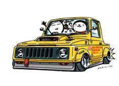 """CRAZY CAR ART """"SUZUKI SAMURAI"""" original cartoon """"mame mame rock"""" / © ozizo + Official web shop """"STAY CRAZY (in Society6)"""" https://society6.com/mame_ozizo + Official web shop """"ozizo(in Redbubble)"""" http://www.redbubble.com/people/ozizo + """"Crazy Car..."""