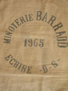 Vintage French hessian grain sack - 1965