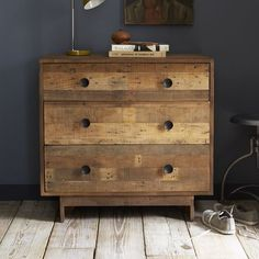 Storage Furniture - Made from reclaimed pine shipping palettes, the Emmerson 3 Drawer Dresser shows the knots and natural imperfections that make each piece subtly one of a kind. 3 Drawer Dresser, 3 Drawer Chest, Wood Chest, Wood Dresser, Pallet Dresser, Rustic Dresser, Dresser Ideas, Modern Dresser, Wood Drawers