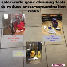 The importance of color coding your cleaning supplies #FoodSafetyMonth