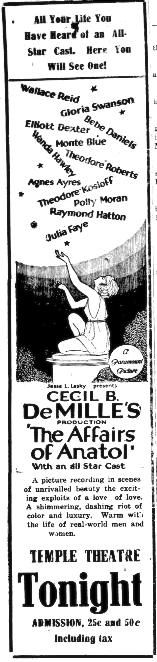 "Ad from the January 10, 1922 issue of the Ocala Evening Star promoting Cecil B. DeMille's film ""The Affairs of Anatol."" The silent film featured actors Gloria Swanson, Wallace Reid, Bebe Daniels, and others. A well-preserved piece of film history."
