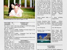 Eine Zeitung gestaltung für die Hochzeit mit einem Foto von Brautpaar auf einer Wiese