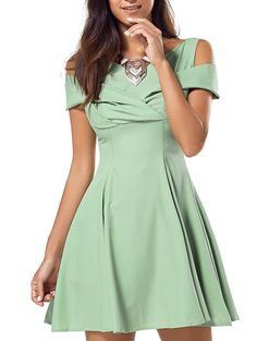 Dress - Chic Pure Color Hollow Out A-Line Flare Mini