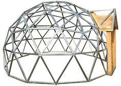 Covering the GeoDome Greenhouse can be challenging. We explain how to cover a GeoDome with greenhouse plastic, polycarbonate panels, and shrink wrapping. Geodesic Dome Kit, Geodesic Dome Greenhouse, Dome Structure, Shed Plans 12x16, Polycarbonate Panels, Storage Shed Plans, Rv Storage, Dome House, Wood