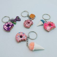 Donut Keychains  Polymer Clay  Kawaii  Handmade  by PunkInPink