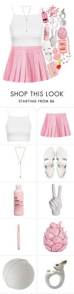 """elena"" by dai-co ❤ liked on Polyvore featuring Topshop, Ettika, Sol Sana, The Body Shop, Noir, John Galliano, Anastasia and Zara Home"