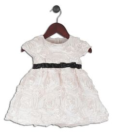 Loving this Ivory Rosette Satin Dress - Infant, Toddler & Girls on #zulily! #zulilyfinds