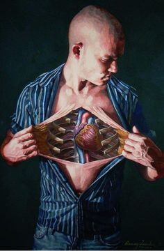 """Danny Quirk """"Self Dissection"""" © watercolor 11""""x16"""" (self portrait, dissection revealing the heart)"""