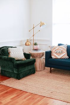 Trim detail - Home Update: Before and After Lounge Room Living Room Chairs, Home Living Room, Living Room Furniture, Living Room Decor, Velvet Furniture, Dining Room, Furniture Plans, Kids Furniture, Apartment Interior Design