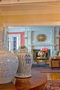 Chinoiserie Chic: Pink and Blue Chinoiserie, trim (not fluted columns) over FP and sunburst!