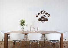 Cup of Coffee Smoke Stamp Logo Wall Vinyl Decal Art Murals Design Interior Modern Cafe Dining Room Kitchen Coffee Shop Decor Sticker SV4696