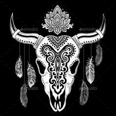 Tribal Animal Skull Illustration #dead #buffalo Download : https://graphicriver.net/item/tribal-animal-skull-illustration-/14620189?ref=pxcr