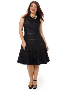 Illusion Fit & Flare Dress In Black by Taylor Dresses, Available in sizes 14W/16W,18W/20W/22W and 24W