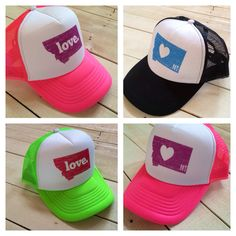 Montana LOVE. trucker hat | MONTANA SHIRT CO. @Megan Mussetter  I want this in green with love and orange with heart lol