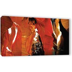 ArtWall Linda Parker Slot Canyon Light From Above 5 inch Gallery-wrapped Canvas, Size: 12 x 24, Brown