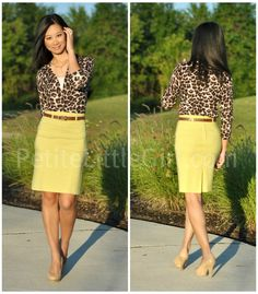 leopard cardigan with yellow skirt