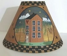 Salt Box House Willow Trees Live Love Laugh Brown Oiled Craft Lampshade.