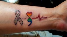 This is what my tattoo represents:  The original #MS ribbon was a prism.  The 3 dots represents the story of my life.  The rainbow semicolon is for mental health awareness, especially within the #LGBTQ community.  The heart beat line is in honor of our brothers and sisters who were murdered last month at #Pulse nightclub in Orlando.