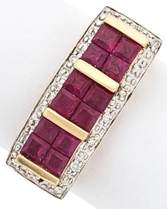 The ring features square-cut rubies measuring 2.60 x 2.60 x 1.20 and weighing a total of approximately 1.20 carats, enhanced by full-cut diamonds weighing a total of approximately 0.10 carat, set in 14k gold. Gross weight 3.40 grams.