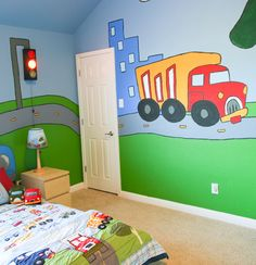 how to paint a mural on a child's bedroom walls
