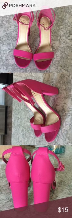 Hot pink stacked heel. Hot pink 4 inch heel from shoe carnival .  Worn once to prom. Shoes Heels