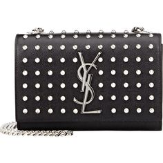 Saint Laurent Monogramme Crossbody (€1.680) ❤ liked on Polyvore featuring bags, handbags, shoulder bags, black, black handbags, studded purse, black shoulder bag, purse and accessories handbags
